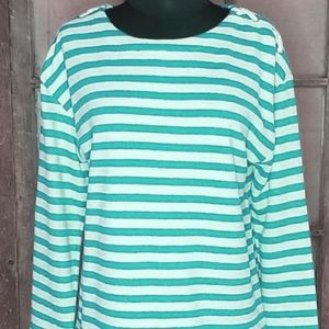 Jones New York Signature Aqua stripe pullover - L